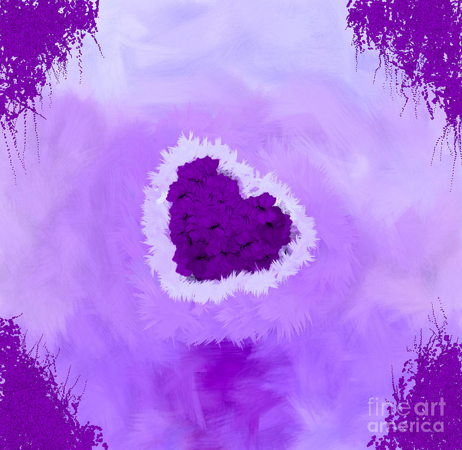 Autism Awareness Digital Art - Family Portrait Purple by Holley Jacobs