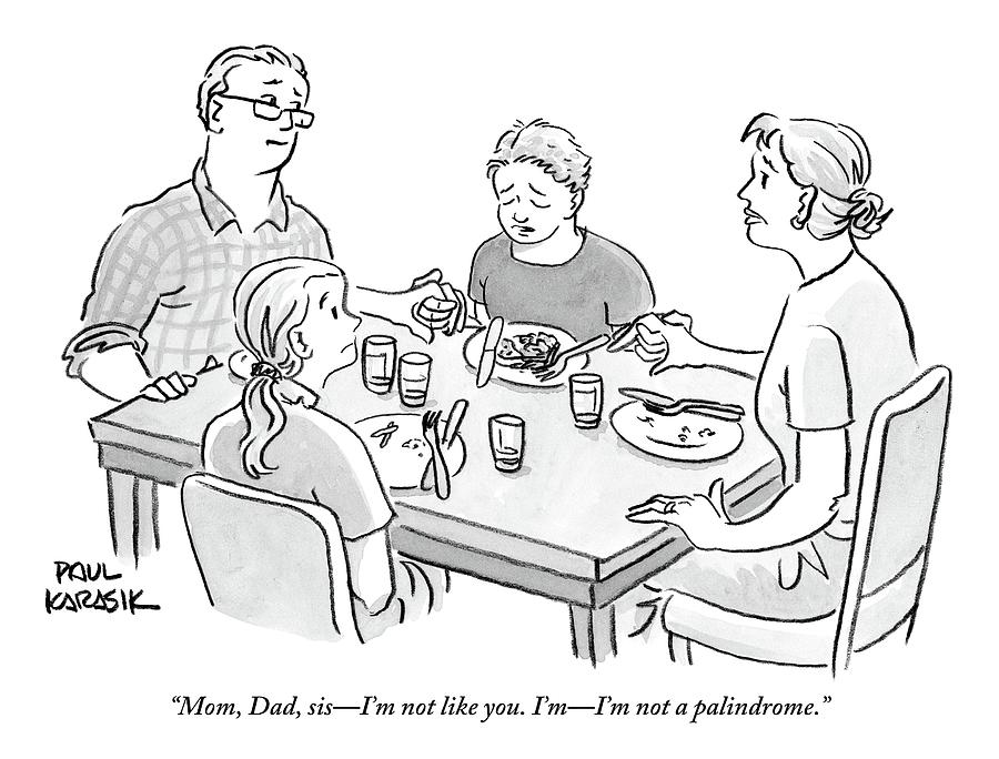 Family Sits Around Dinner Table.  One Daughter Drawing by Paul Karasik