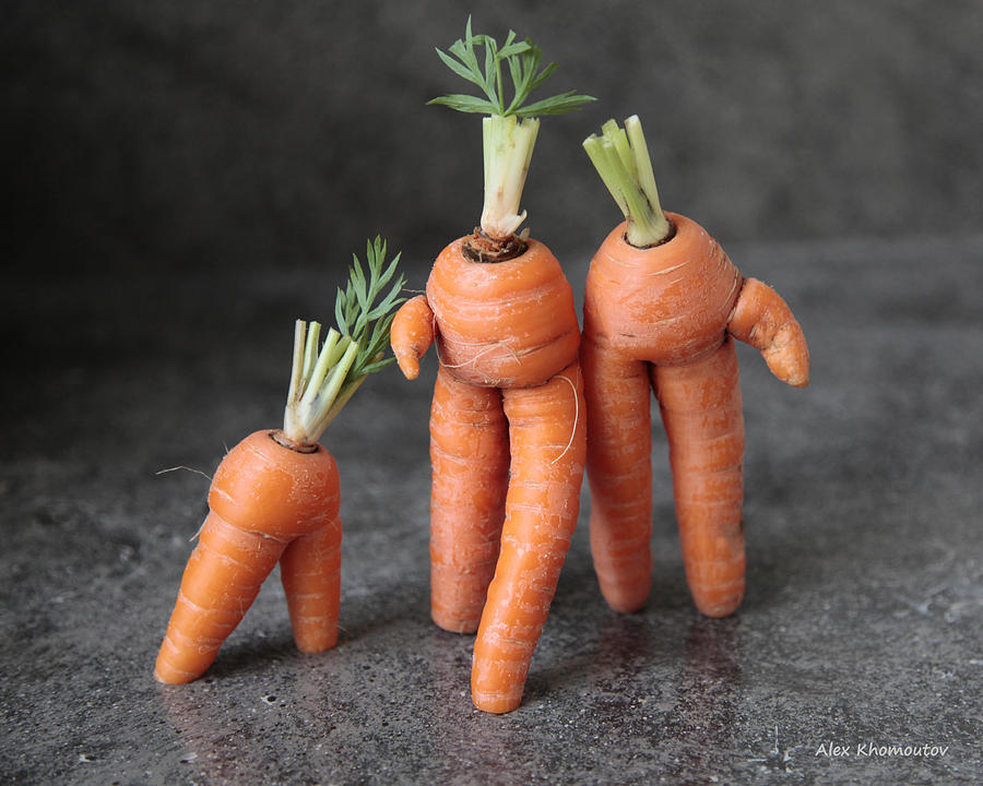 Comic Mixed Media - Family Walk - Funny Art - Comic Carrots - Good Luck Energy Print by Alex Khomoutov