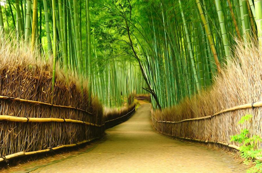 Arashiyama Painting - Famous Bamboo Grove At Arashiyama by Lanjee Chee