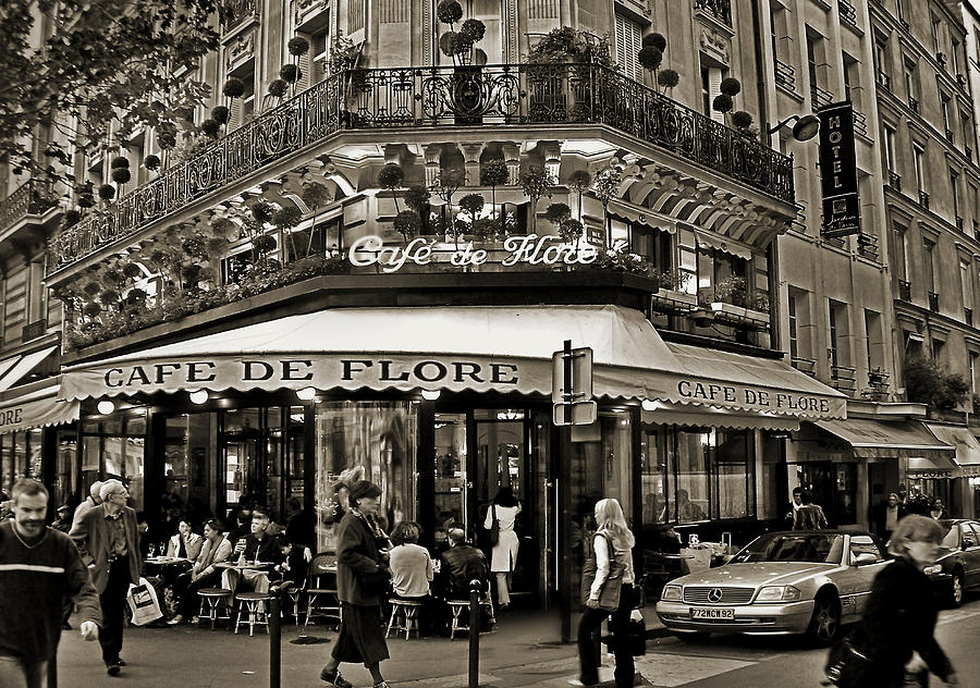 Paris Photograph - Famous Cafe De Flore - Paris by Carlos Alkmin