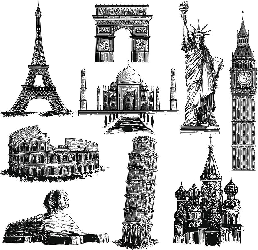 Famous Landmarks Drawing by Man_Half-tube
