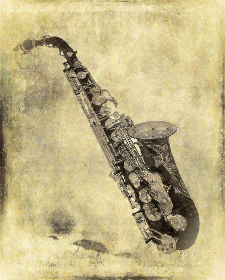 Fancy Antique Saxophone In Pastel Painting by Angela Stanton