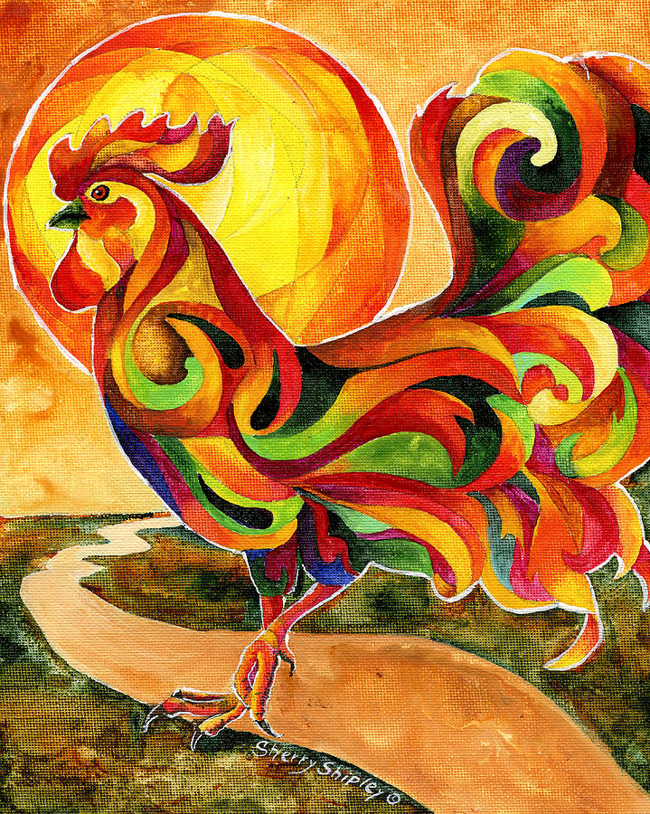 Rooster Painting - Fancy Feathers Rooster by Sherry Shipley