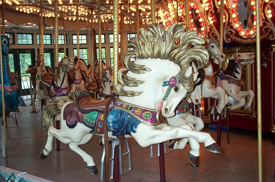 Carousel Photograph - Fancy Flashy Pony -ri by Barbara McDevitt