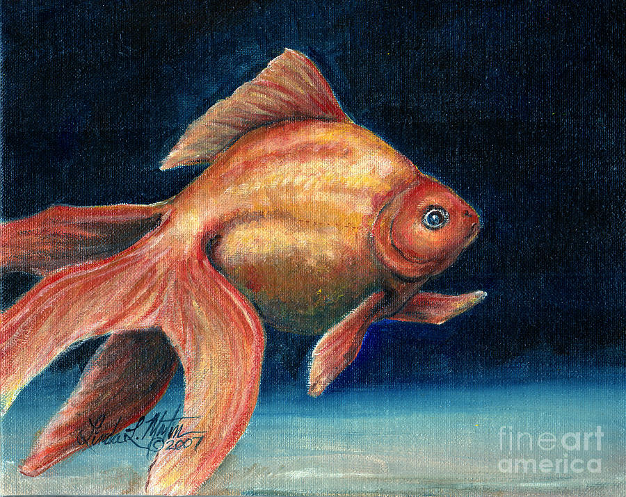 Goldfish Painting - Fancy Goldfish by Linda L Martin