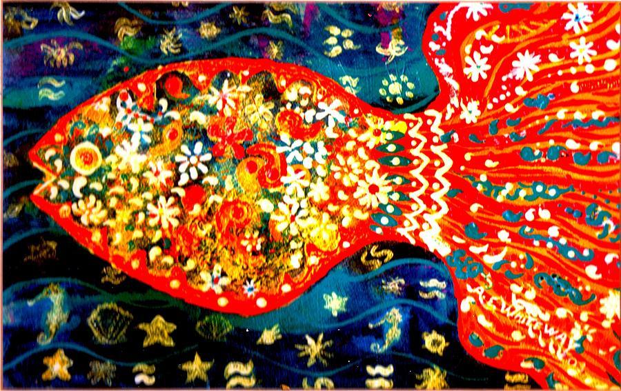 Decorated Painting - Fancy Happy  Gaga Fish by Anne-Elizabeth Whiteway