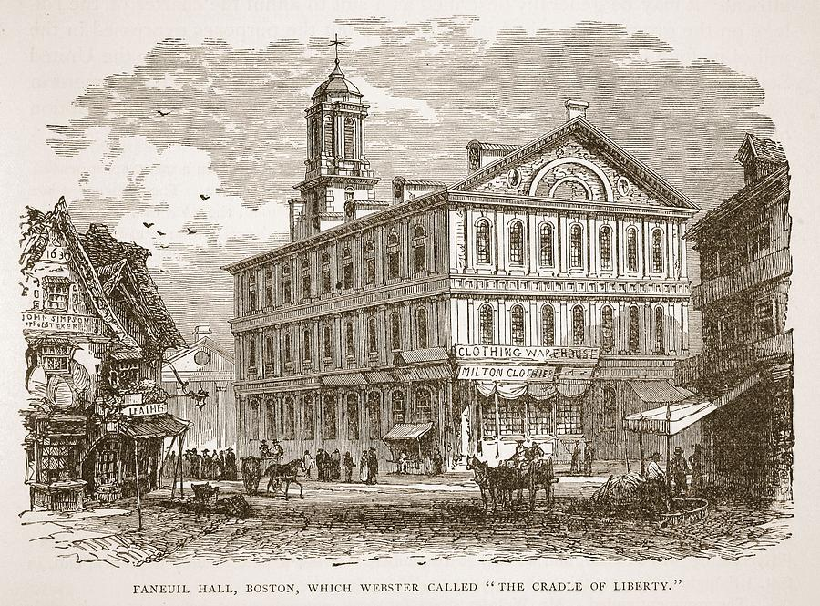 Architecture Drawing - Faneuil Hall, Boston, Which Webster by American School