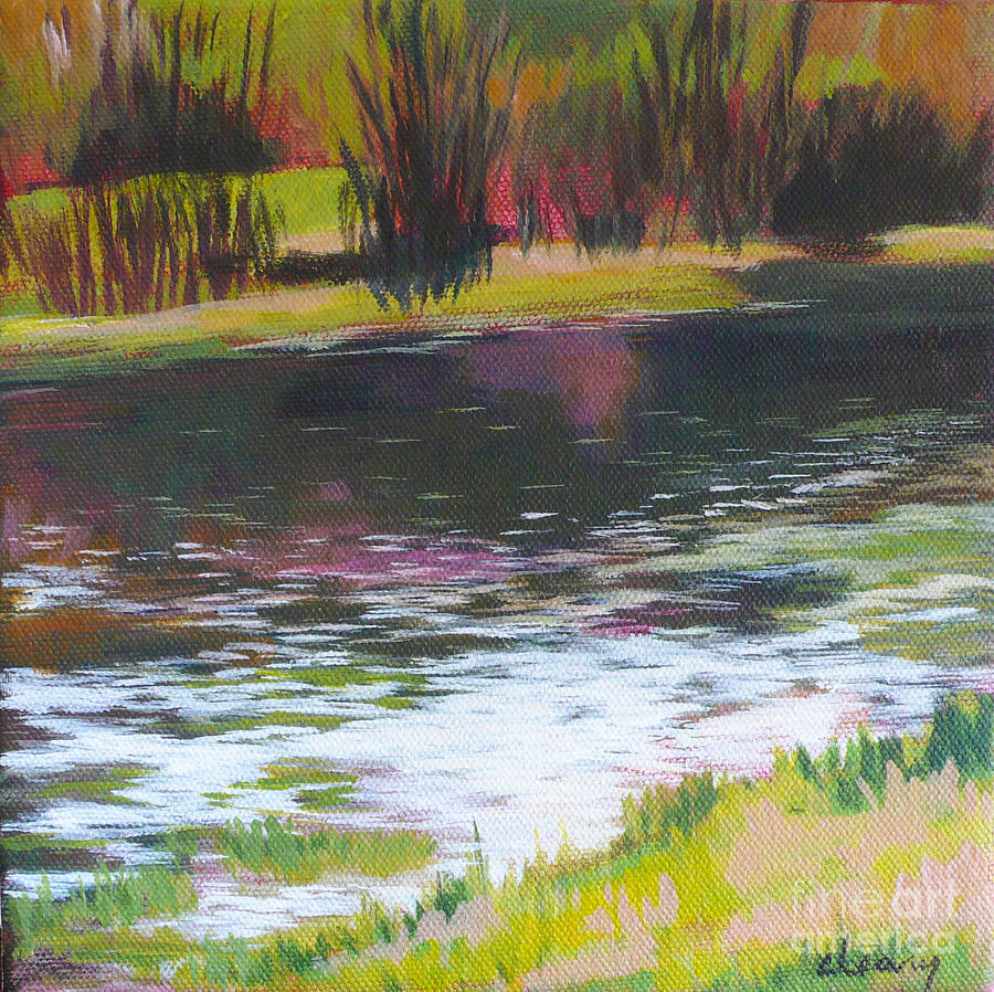 Contemporary Landscape Painting - Fanno Creek Beaverton by Melody Cleary