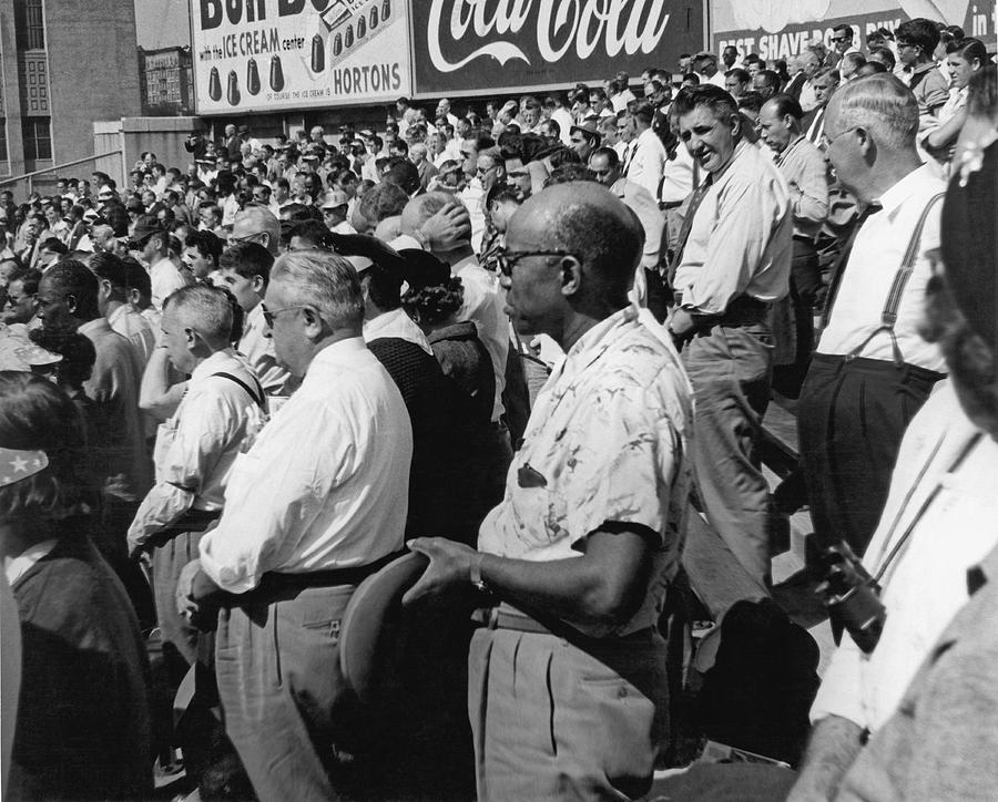 1955 Photograph - Fans At Yankee Stadium Stand For The National Anthem At The Star by Underwood Archives