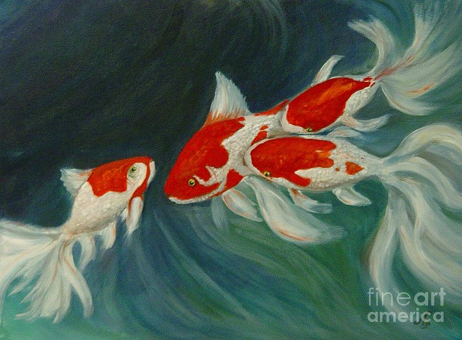 Koi Painting - Fantail Koi by Nancy Bradley