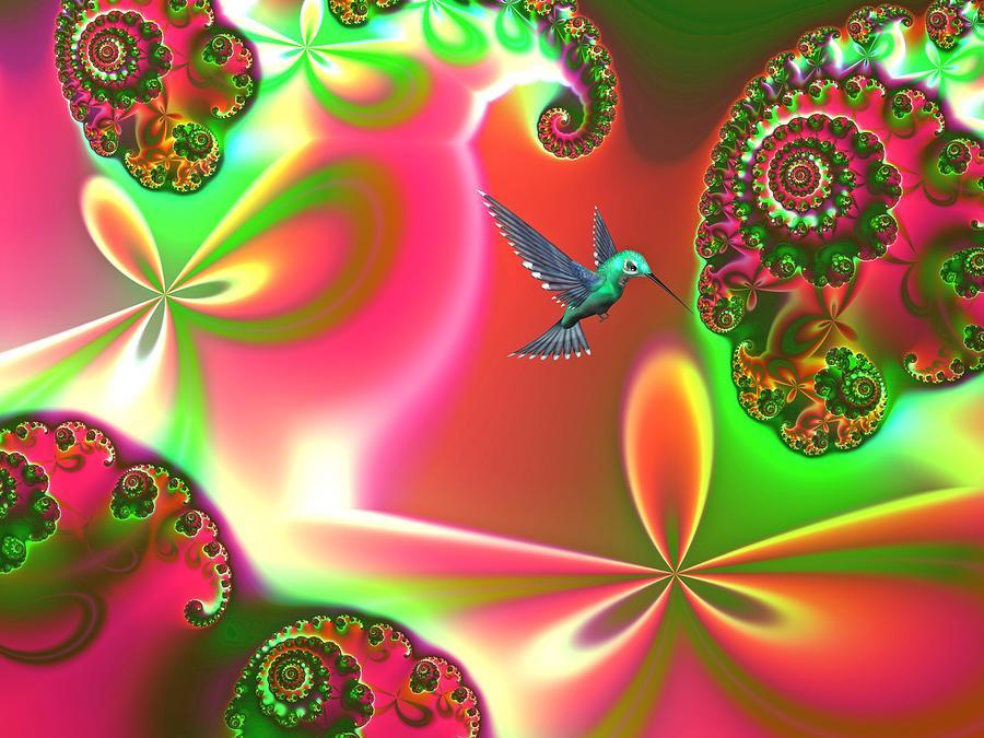 Hummingbirds Digital Art - Fantasia Landscape by Sharon Lisa Clarke