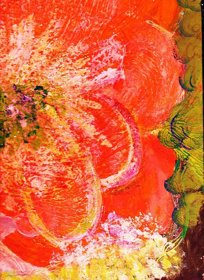 Orange Painting - Fantasia With Orange  by Anne-Elizabeth Whiteway