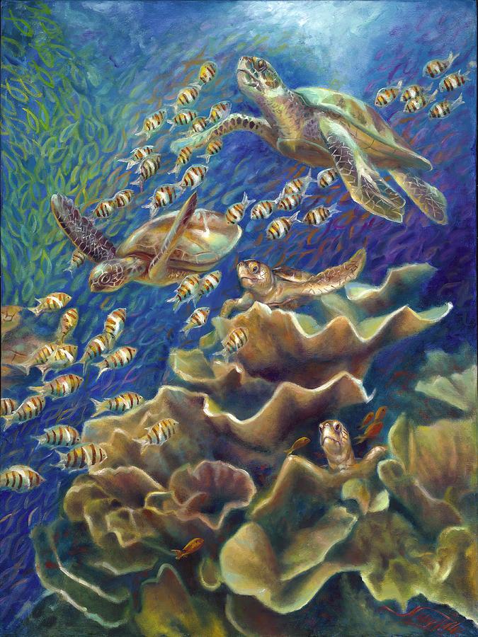 Turtle Painting - Fantastic Journey - Turtles by Nancy Tilles