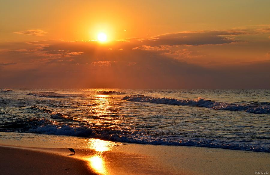 fantastic sunrise colors clouds rays and waves on navarre beach photograph by jeff at jsj. Black Bedroom Furniture Sets. Home Design Ideas