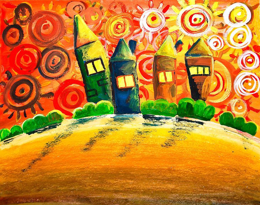 Abstract Painting - Fantasy Art - The Village Festival by Nirdesha Munasinghe