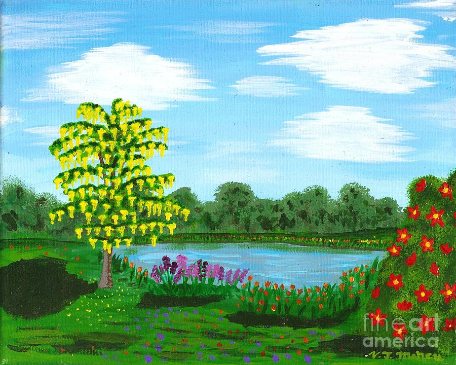 Pond Painting - Fantasy Backyard by Vicki Maheu