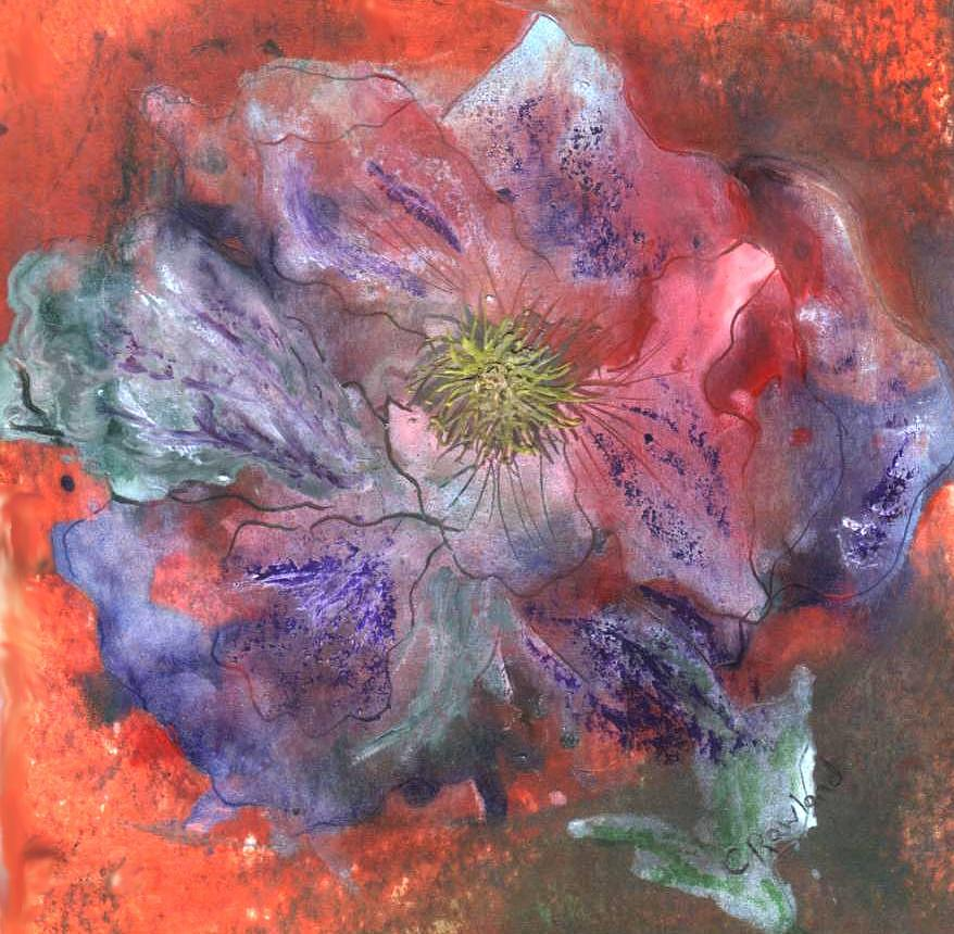 Blue Painting - Fantasy Clematis by Carol Rowland