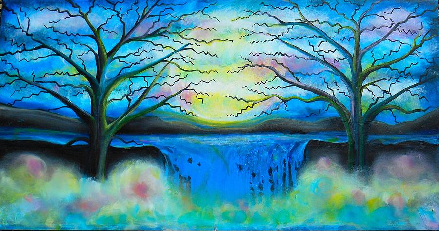 Abstract Painting - Fantasy Falls by Shirley Smith