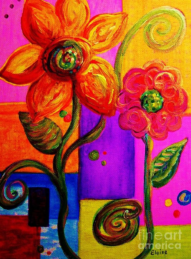 Water Painting - Fantasy Flowers by Eloise Schneider