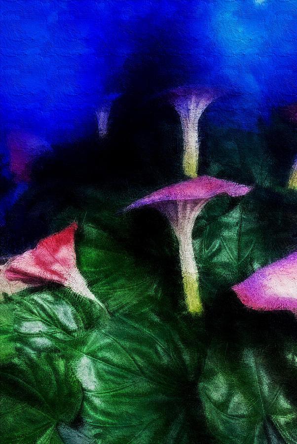 Asia Digital Art - Fantasy Flowers Embossed Hp by David Lange