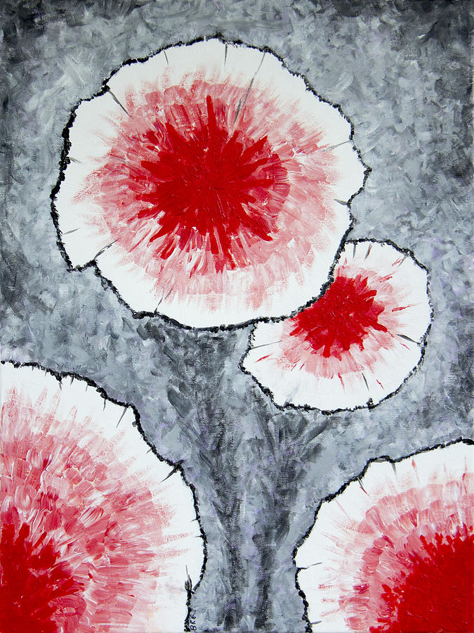 Fantasy Flowers In Red No 1 Painting