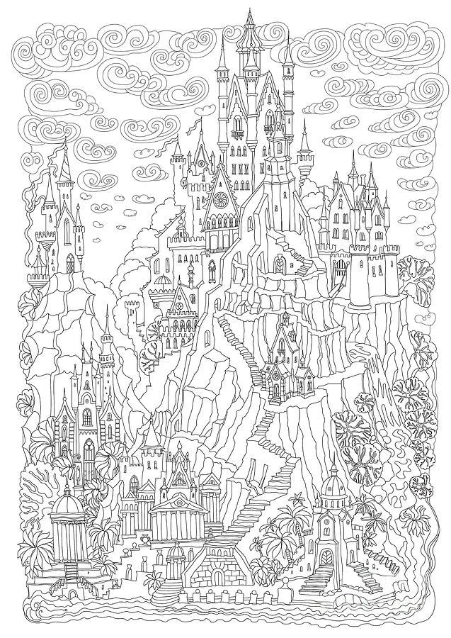 Door Digital Art - Fantasy Landscape Fairy Tale Castle by L. Kramer