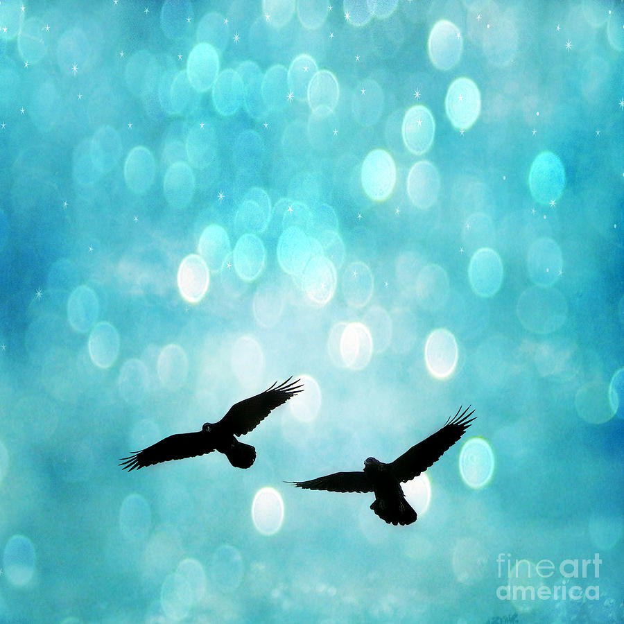 Fantasy Surreal Ravens Flying - Aquamarine Blue Bokeh Sparkling Lights Photograph by Kathy Fornal