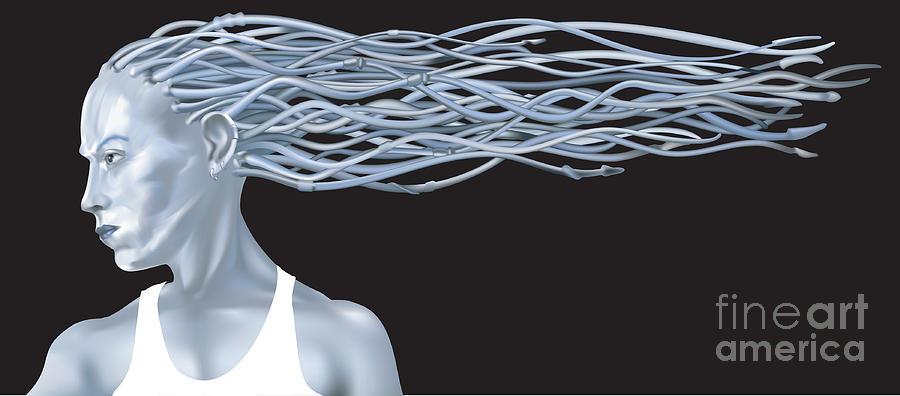 Human Mixed Media - Fantasy Woman Illustration by Christos Georghiou