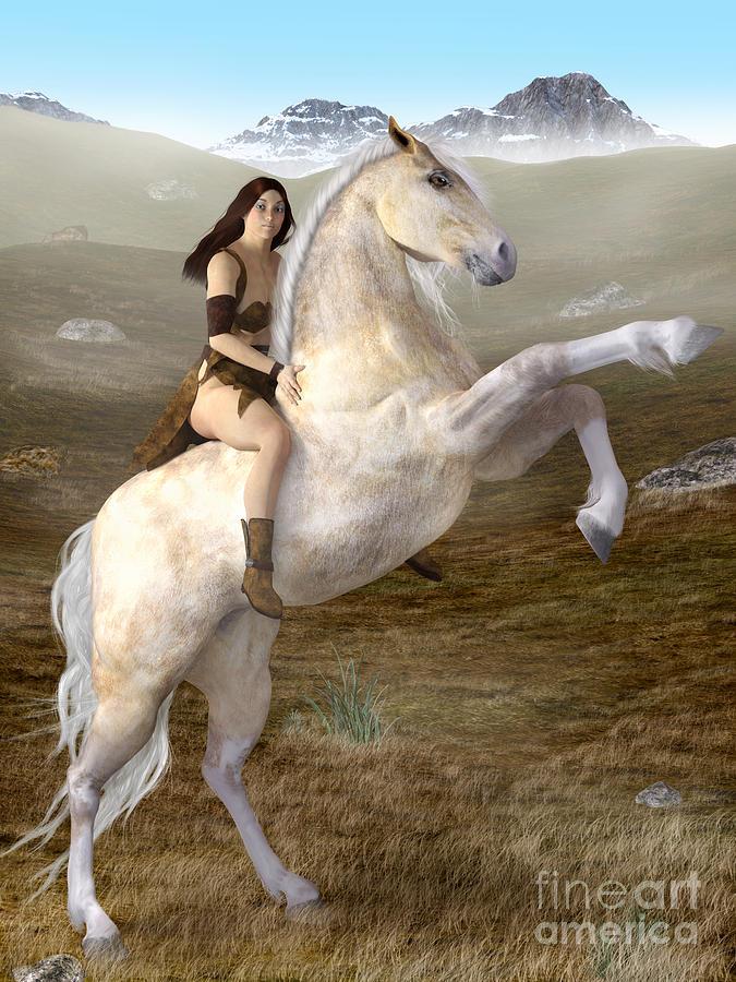 Fantasy Woman On Rearing Horse Digital Art by Elle Arden Walby
