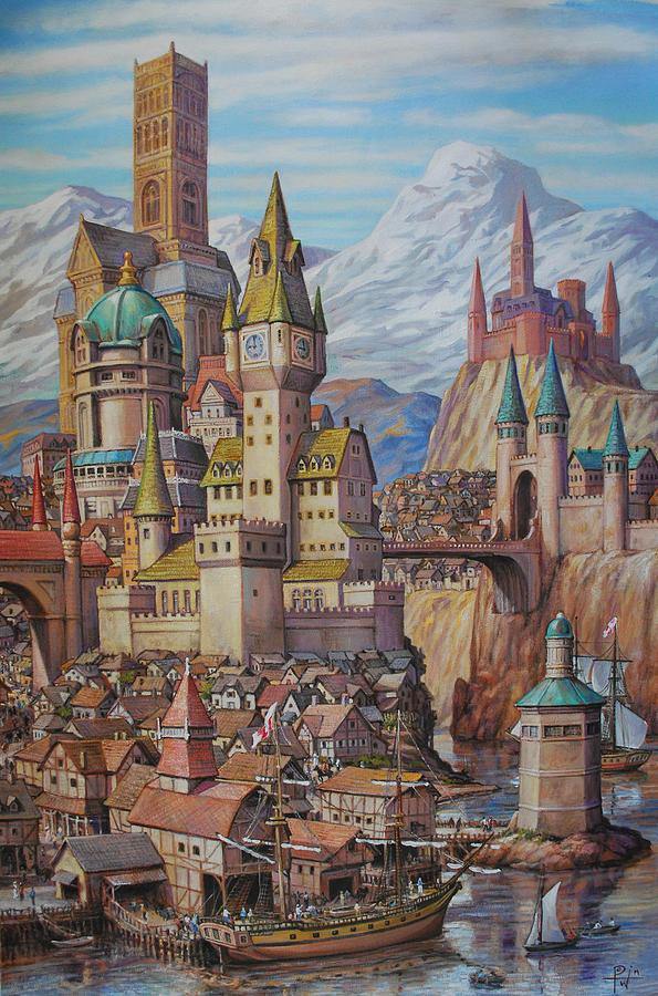 Fantasy Painting - Fantasy World by Henry David Potwin