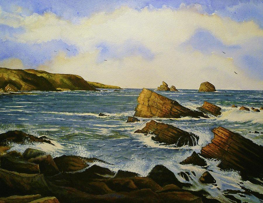 Seascape Painting - Faraid Head by Andrew Read