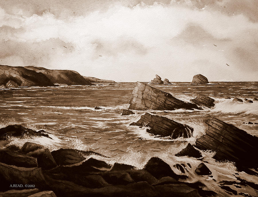 Andrew Read Painting - Faraid Head Durness Scotland by Andrew Read
