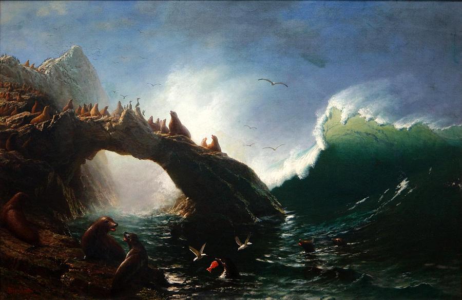 Farallon Island Painting By Albert Bierstadt