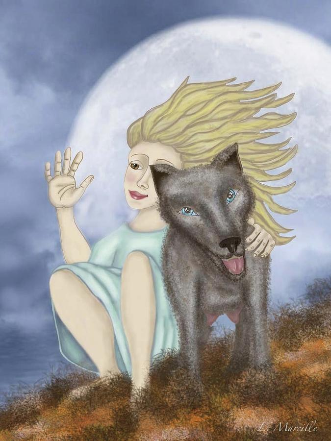 Full Moon Painting - Farewell The Journey Begins by Linda Marcille