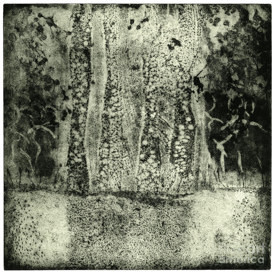 Faries Landscape -  Elves Dancing On The Clearing - Etching - Fine Art Print - Stock Image Painting