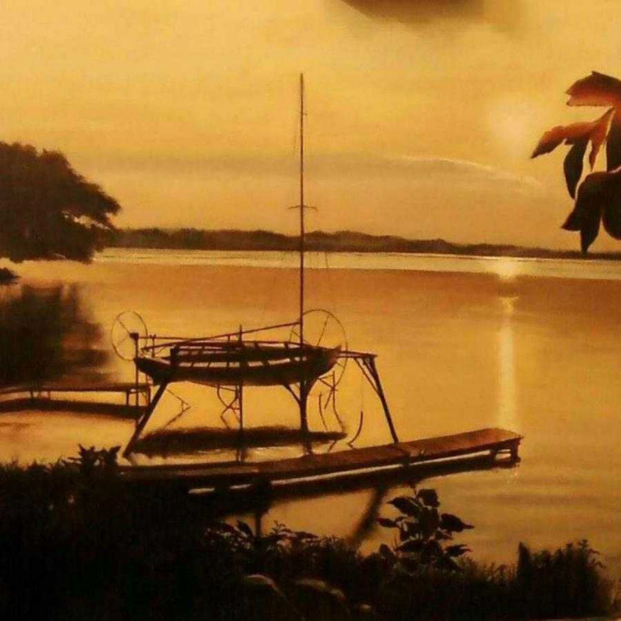 Landscape Painting - Farleys Point Union Springs Ny by Pamela Powers