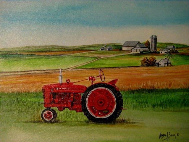 Tractor Painting - Farm All Tractor by Kendra Sorum