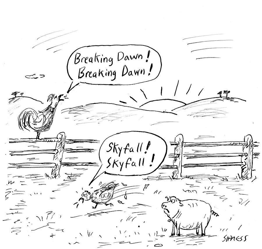 Farm Animals At Sunrise Drawing by David Sipress