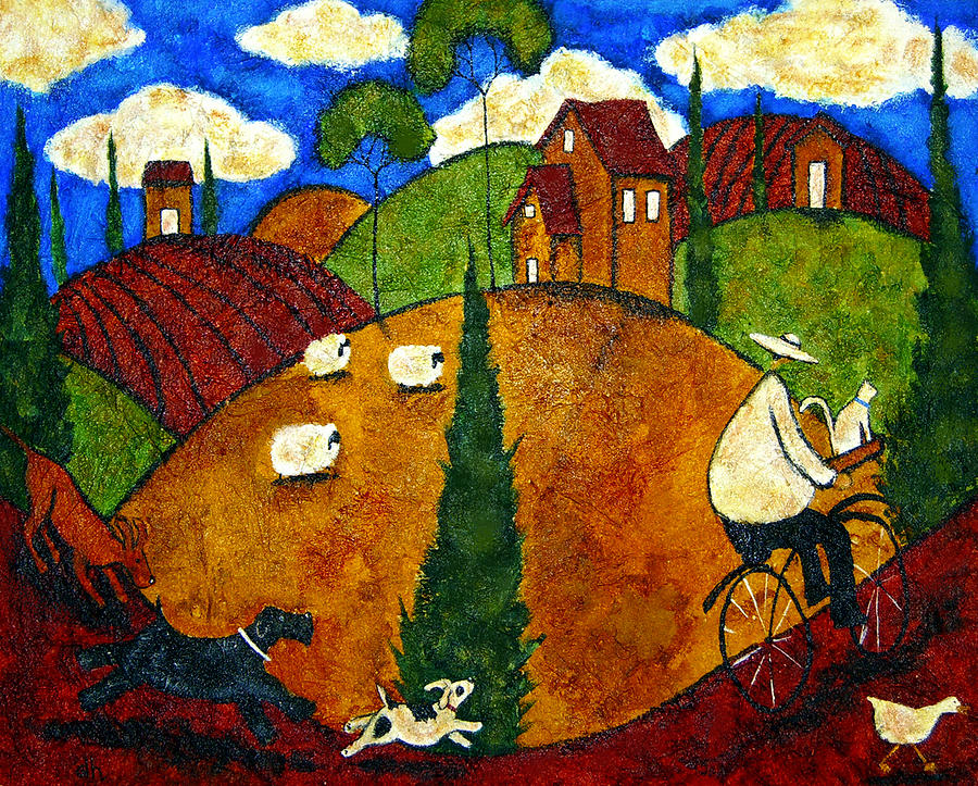 Farm animals countryside dog cat pets goose sheep italian for Paintings of toddlers