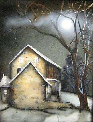 Farm Painting - Farm At Night by Kendra Sorum