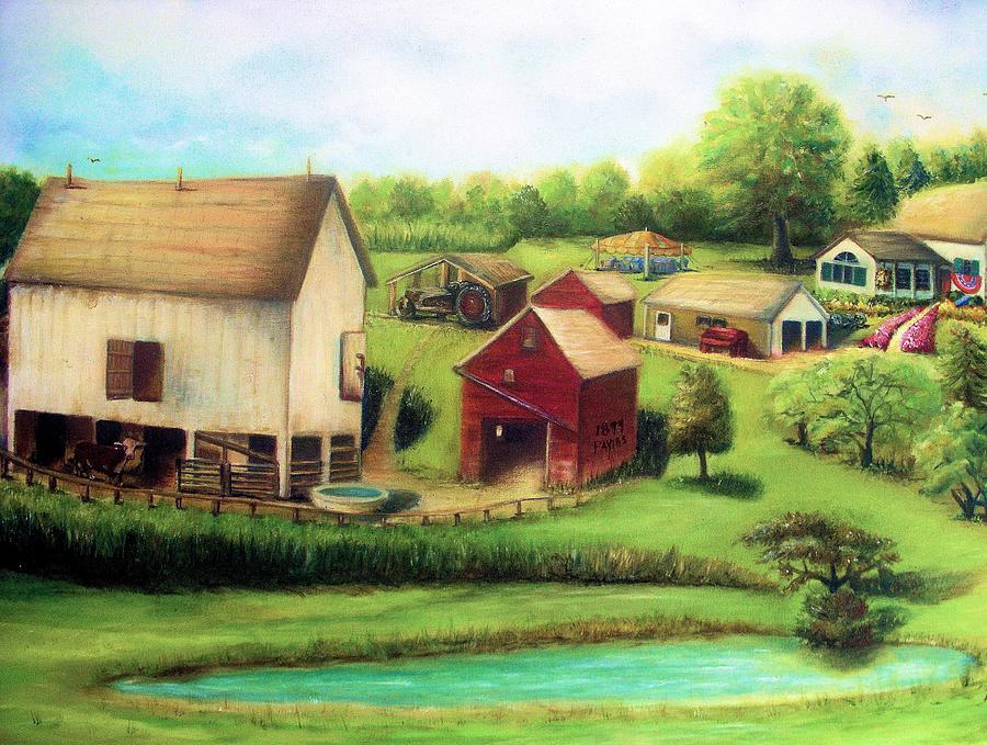 Farm Painting - Farm by Bernadette Krupa