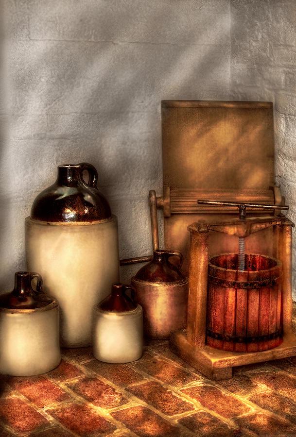 Savad Photograph - Farm - Bottles - Lets Make Some  Apple Juice by Mike Savad