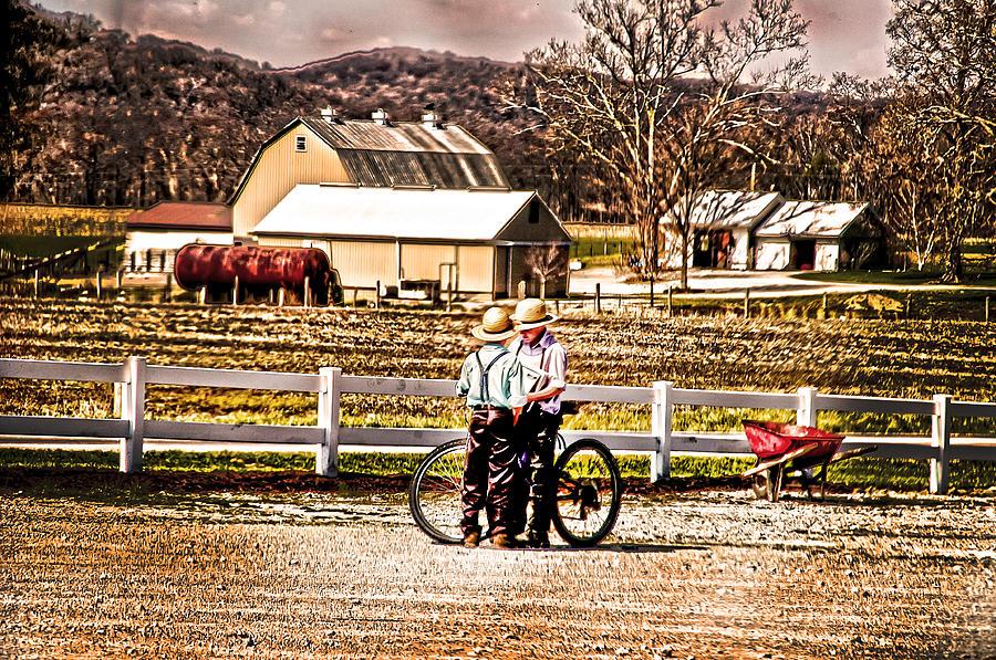 Farms Photograph - Farm Boys Country Exchange by Randall Branham
