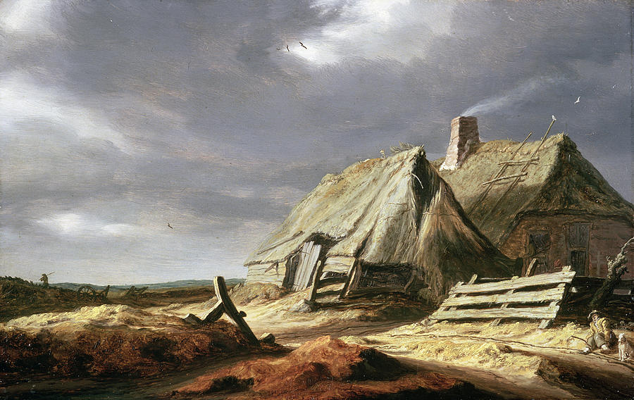 Overcast Painting - Farm Buildings In A Landscape, C.1625-28 by Salomon van Ruisdael or Ruysdael