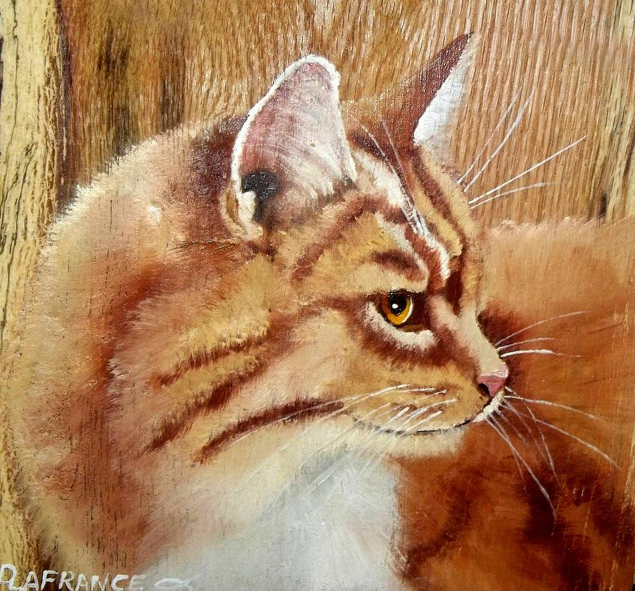 Cat Painting - Farm Cat On Rustic Wood by Debbie LaFrance