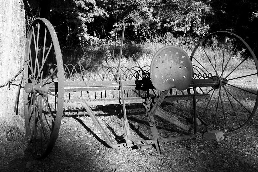 Farm Equipment Photograph - Farm Equipment Bw by Mary Bedy