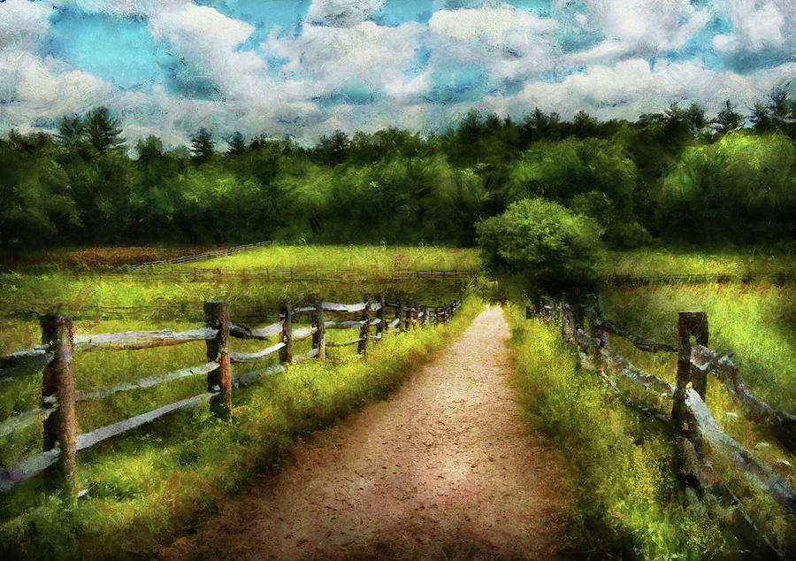 Hdr Photograph - Farm - Fence - Every Journey Starts With A Path  by Mike Savad