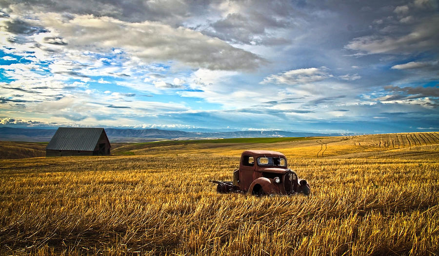 Hot Rod Photograph - Farm Field Pickup by Steve McKinzie