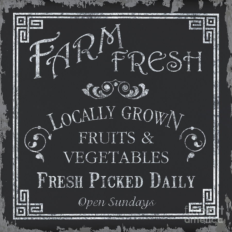 Farmer Painting - Farm Fresh Sign by Debbie DeWitt